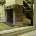 miniature brick fire place side view